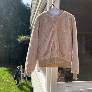 Have pale pink plush bomber jacket